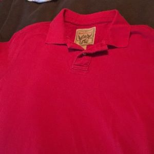 Men's red camel polo style shirt large